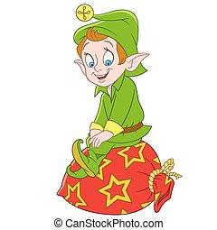cute cartoon christmas elf or santa claus helper with a bag...