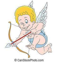 cute cartoon aiming cupid - cute little cartoon cupid aiming...