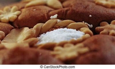 Bread and salt - Patterned festive bread and salt. FullHD