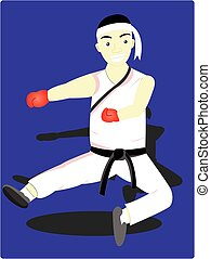 the karate man - the man is showing the style of karate