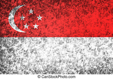 Flag of Singapore. - Flag of Singapore in grunge style.