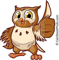 Owl Mascot Giving Thumbs Up - Vector cartoon clip art...