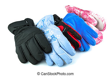 Collection of multicolor ski gloves varied in size isolated...