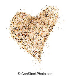 heart sand isolated on white background