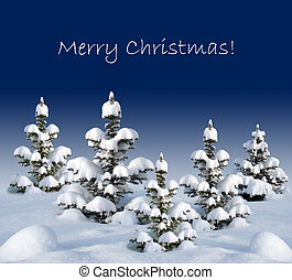 Christmas card with fir trees - Several small trees covered...