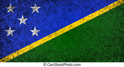 Flag of Solomon Islands - Flag of Solomon Islands in grunge...