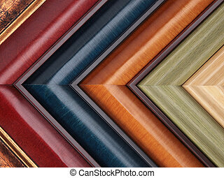 Picture frame samples - colorful array of wooden picture...