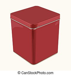 3D Vector Red Square Popcorn Tin