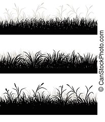 Grass field silhouettes - Vector illustration of a grass...