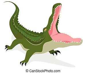 Green crocodile attacks - Vector illustration of a green...