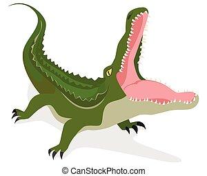 Green crocodile attacks