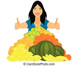 Healthy girl with fruits pyramid - Vector illustration of a...