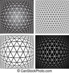 Patterns set. 3D geometric latticed textures. - Triangles,...