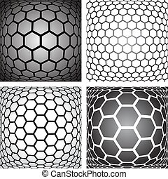 Hexagons patterns. Design elements set. Vector art.