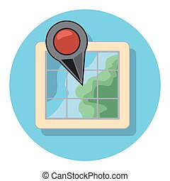 pointer and map circle icon with shadow.eps