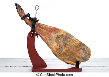 Iberian Ham - Iberian ham with exposed on a white background...
