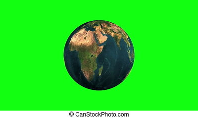 Earth Rotation Chroma Key Looped - planet rotates chroma key
