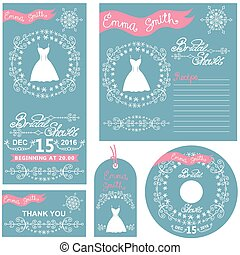 Wedding invitations.Winter Bridal shower set - Wedding...