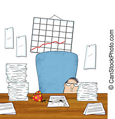 Stressed Office Worker With Piles of Paperwork - Humorous...