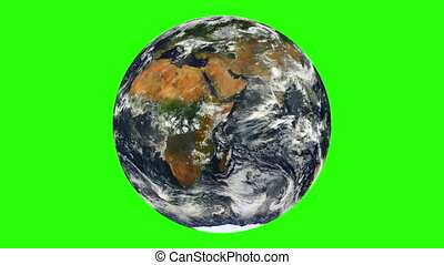 Earth with Clouds Rotation Chroma Key Looped - planet...