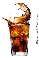 Splash from ice cubes in a glass of cola, isolated on the white background