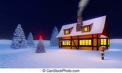 Decorated christmas tree and house on dark blue background -...