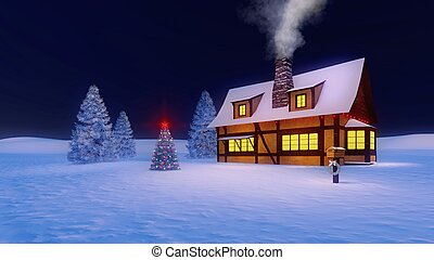 Rustic house and decorated christmas tree at night - Rustic...