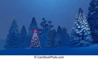 Decorated christmas tree among snowy fir forest at night -...