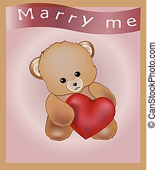 marry me - lovely teddy bear with red heart