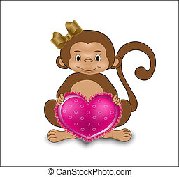 monkey with heart - the monkey, with a gold bow, holds in...