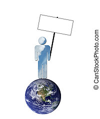 Ecological sky man holding blank picket sign - A man made up...