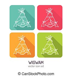 Vector line art wigwam icon set in four color variations...