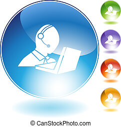 Customer Service - Customer service isolated on a white...