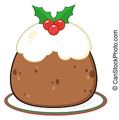 Holly Topped Christmas Pudding On A Plate