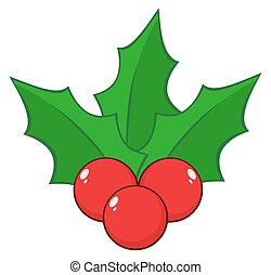 Christmas Holly Berries And Leaves Illustration Isolated On...