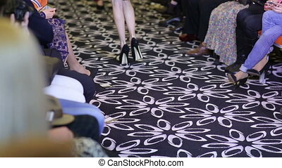 Legs Models Walk the Catwalk - Feet of models walks on...
