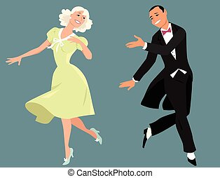 Dancing couple - Classy couple in formal retro clothes...