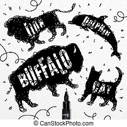 Tangled line buffalo black - Pen hand drawing tangle wild...