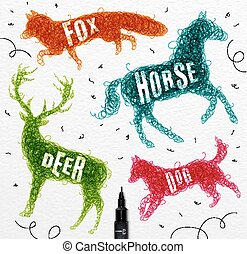 Tangled line deer color - Pen hand drawing tangle wild...