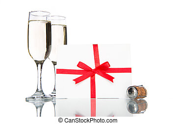 champagne with card, celebration holiday - champagne with...
