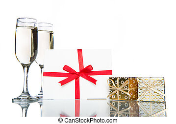 champagne with gift and card, celebration holiday -...
