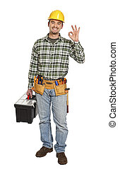 positive handyman smile - standing handyman with toolbox...