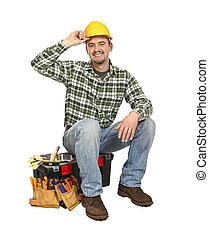 happy worker on toolbox - happy young worker take rest sit...