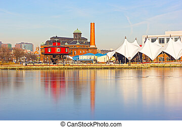 Baltimore waterfront and lighthouse - Seven Foot Knoll...