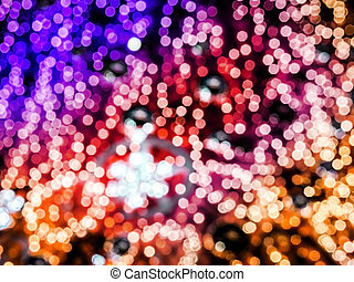blur colorl blue and purplered gold light in dark abstract...