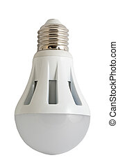 LED energy saving bulb. Light-emitting diode. Isolated...