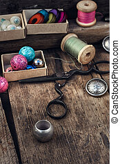 Sewing supplies tailor - Old scissors,spools of...