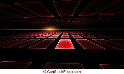 Geometrical Horizon with Ray - red cubical perspective with...