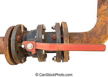 the Rusted valve - old metal pipe with valve