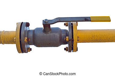 the Rusted valve - metal pipe with valve on white background...